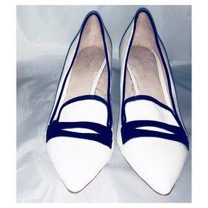 Black and white kitten heels